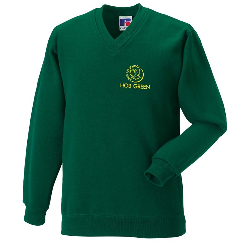 Hob Green Bottle Green V Neck Sweat with embroidered logo