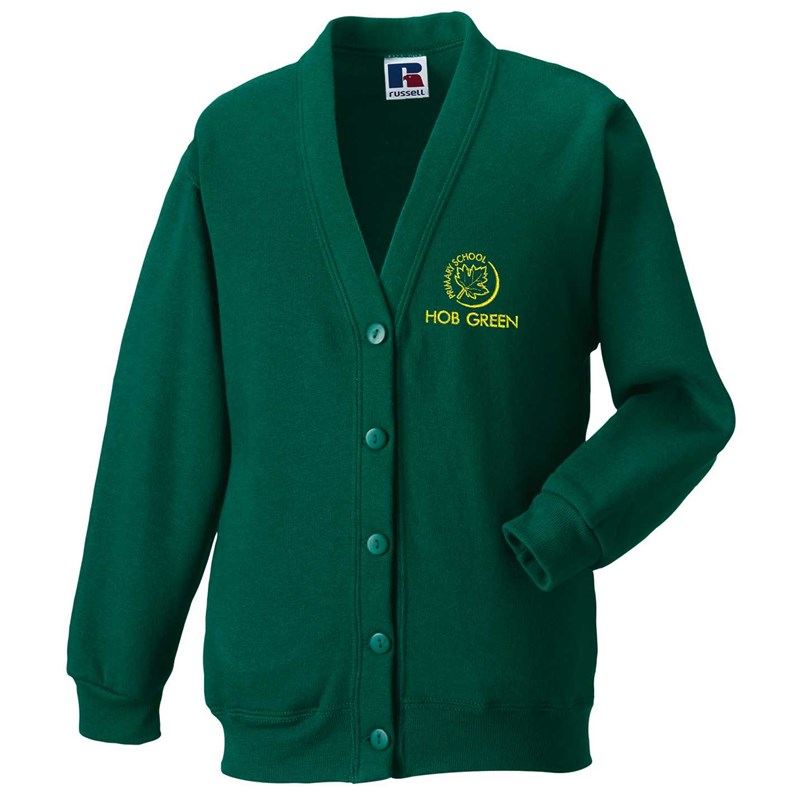 Hob Green Bottle Green Cardigan with embroidered logo