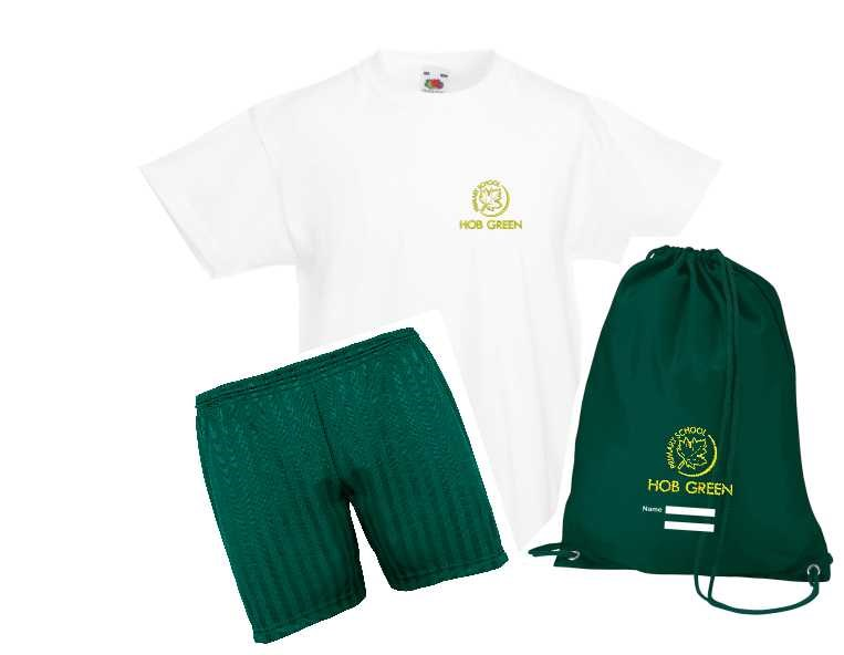 Hob Green Kids PE Set – T Shirt embroidered, plain green shorts and a PE Bag with logo