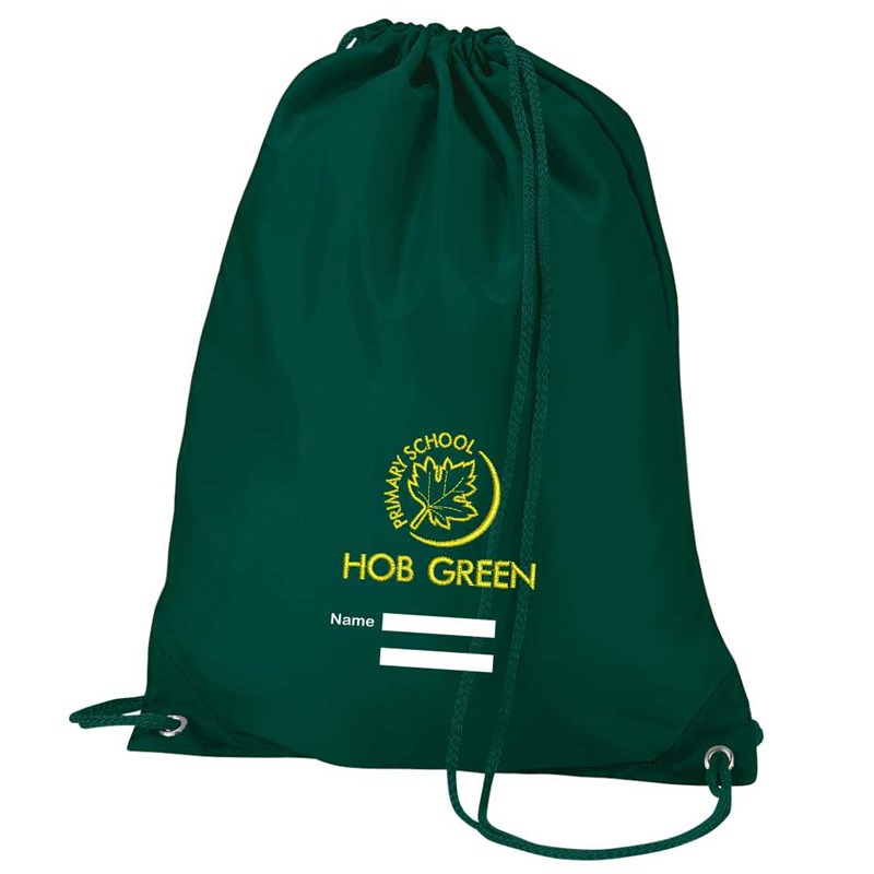 PE Bag embroidered logo with panel to write childs name